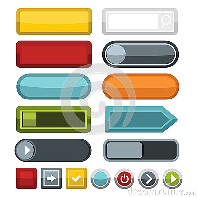 Blank color web buttons icons set, flat style