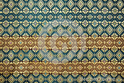 Colorful thai silk handcraft peruvian style rug surface close up