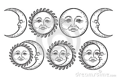 Boho chic flash tattoo design hand drawn art sun and crescent moon set. Antique style sticker design vector isolated on white back
