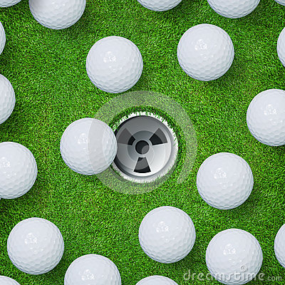 Abstract golf sport background of golf ball and golf hole on green grass background.