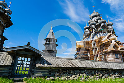 Historical architectural ensemble on the island of Kizhi in Russ
