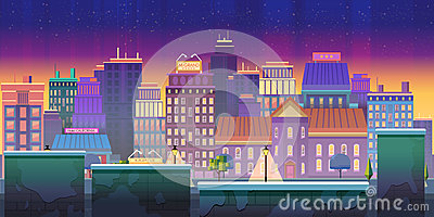 City game background 2d game application. Vector design. Tileable horizontally.