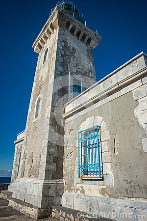 Traditional lighthouse at the most southern point of greek mainland