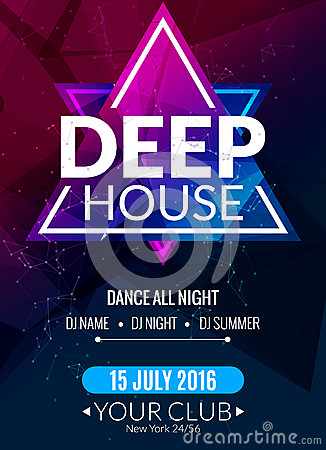 Club electronic deep techno music poster. Musical event DJ flyer. Disco trance sound. Night party