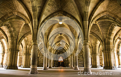 Spectacular architecture inside the University of Glasgow main building.
