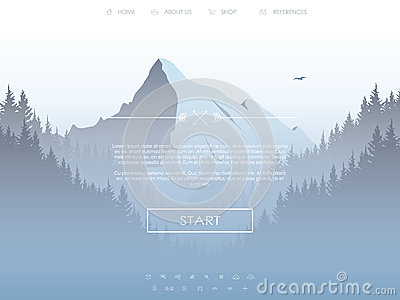 Website template with set of icons for landing page on natural landscape background with high mountain and forest.
