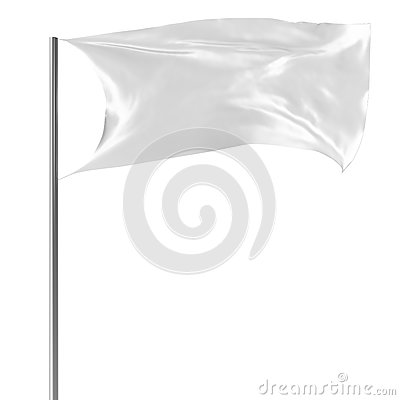 White flag on flagpole flying in the wind empty mock-up, flag isolated on white background. Blank Mock-up for your