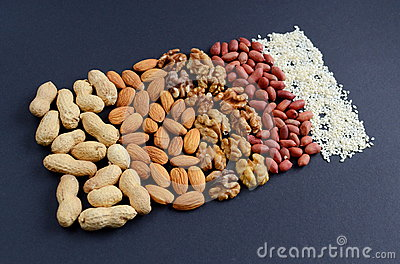 Assorted mixed nuts, peanuts, almonds, walnuts and sesame seeds.
