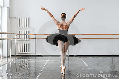 Graceful ballerina dance in ballet class