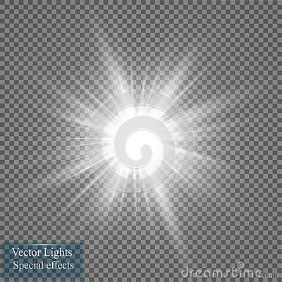 Glow light effect. Star burst with sparkles. Vector illustration. Sun