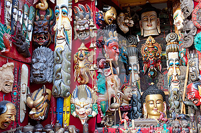 Masks and handicrafts on sale in Bhaktapur, Nepal