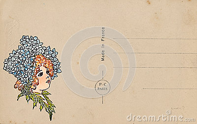 Antique vintage style postcard with flower fairy illustration