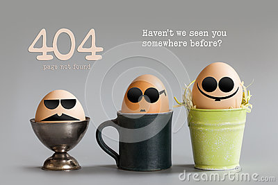 Error 404 page not found concept. Funny egg characters with black eye glasses sitting in cup bucket. Gray paper