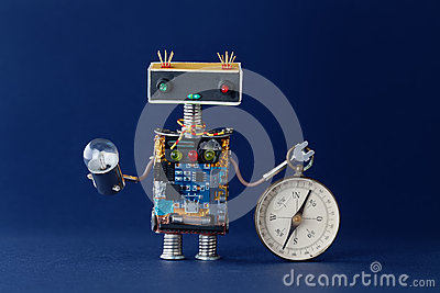 Friendly robot with magnetic exploration compass and light bulb lamp. Navigating looking for journey concept. Blue