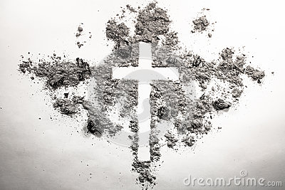 Ash wednesday cross, crucifix made of ash, dust as christian rel