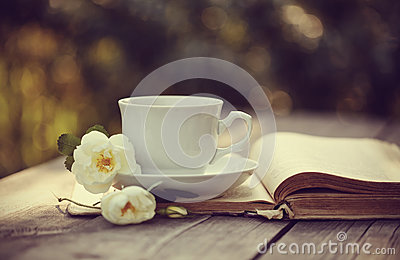 White cup with a flowers of wild rose on an open old book