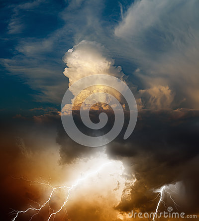 Bright lightning in dark stormy sky, weather forecast concept