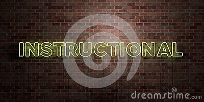 INSTRUCTIONAL - fluorescent Neon tube Sign on brickwork - Front view - 3D rendered royalty free stock picture