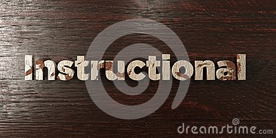 Instructional - grungy wooden headline on Maple  - 3D rendered royalty free stock image