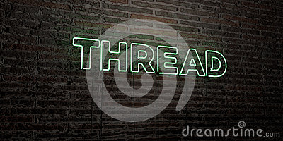 THREAD -Realistic Neon Sign on Brick Wall background - 3D rendered royalty free stock image