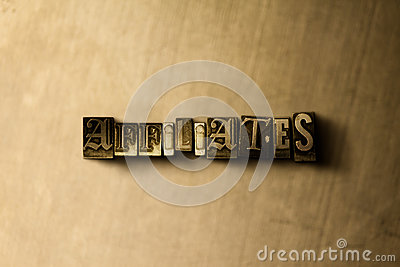 AFFILIATES - close-up of grungy vintage typeset word on metal backdrop