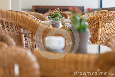 Wicker furniture in cafe