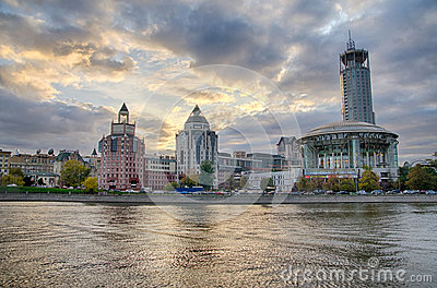 Moscow summer landscape with river and hall of music.