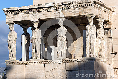 The Porch of the Caryatids in The Erechtheion an ancient Greek temple on the north side of the Acropolis of Athens, Greece