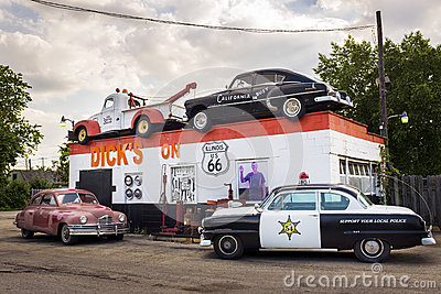 Dick`s Towing roadside attraction in the US Route 66 in Joliet, Illinois, USA