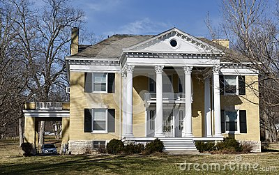 Yellow a Brick Greek  Revival