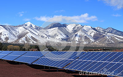 Solar Power Plant at the Foot of San Francisco Peaks - Flagstaff, Arizona/USA