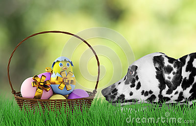 Easter dog with eggs in basket