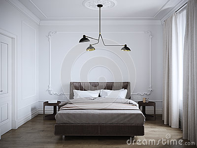 Bright and cozy modern bedroom interior design with white walls,