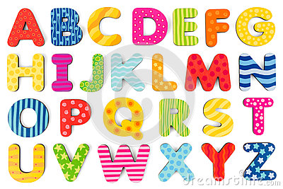 Colorful wood alphabet letters on a white background