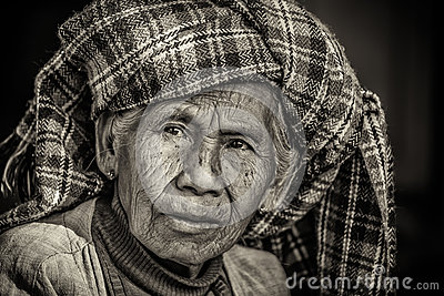 Black and white portrait of an old indigenous woman in Myanmar