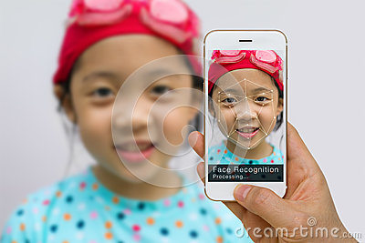 Biometric Verification, Face Recognition Technology Concept, Using App on Smartphone