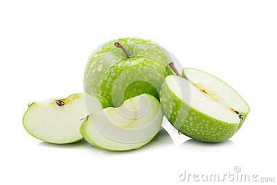 Fresh green apples and sliced green apple isolated on white back