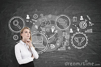 Pensive blond woman and business prize, blackboard