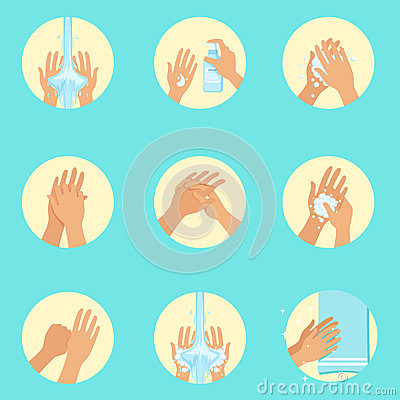 Hands Washing Sequence Instruction, Infographic Hygiene Poster For Proper Hand Wash Procedures