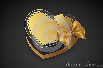 Golden box in heart shape. Chocolate for Valentine`s Day. Birthday gift with love. Luxury gift. Vector illustration.