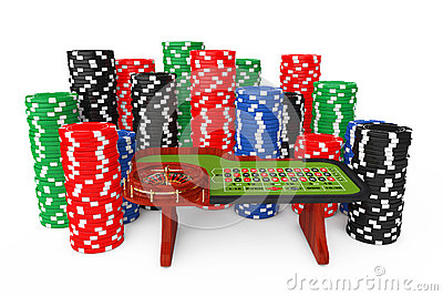 Classic Casino Roulette Table with Colorful Poker Casino Chips.