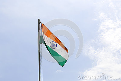 National flag of India on a flagpole