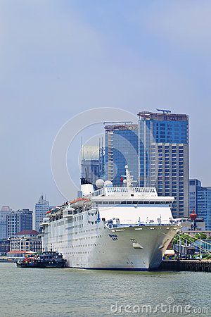 China`s first luxury cruise liner Henna moored in Shanghai, China.