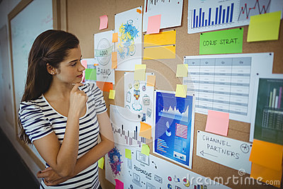 Female executive looking at bulletin board
