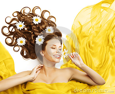 Woman Flowers in Hair, Beauty Model Smelling Flower Curly Hairstyle