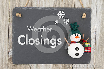 Weather closing sign