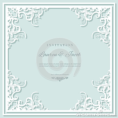 Wedding invitation card template with laser cutting frame. Square filigree cutout envelope design. Pastel blue and white