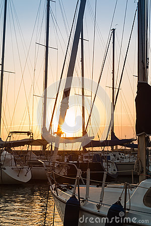Sailing Boat`s Masts: Dock Seaside