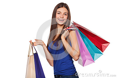 Smile beautiful happy woman holding shopping bags, sale, isolated on white background