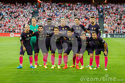 BILBAO, SPAIN - AUGUST 28: FC Barcelona poses for the press in the match between Athletic Bilbao and FC Barcelona, celebrated on A